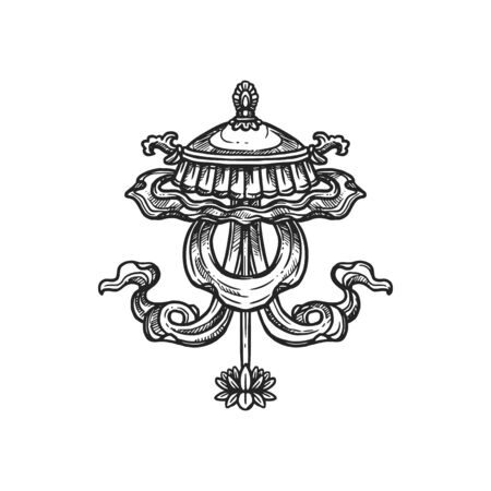 Buddhism religious symbol, chatra umbrella. Buddhist Hinduism Dharma religion, jewelled parasol vector sketch