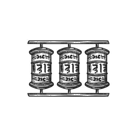 Buddhism religious symbol, prayer wheels. Buddhist Hinduism Dharma religion, temple prayer wheels vector sketch 일러스트