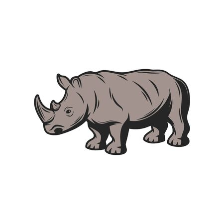 Rhinoceros wild animal icon. Vector African rhino, safari hunt and zoo mammal