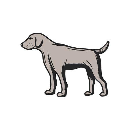 Hunting dog and pet icon. Vector hunter gun dog hound for birds trophy Ilustração