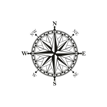 Compass isolated icon, vector rose of wind symbol with north, South, East and West signs 向量圖像