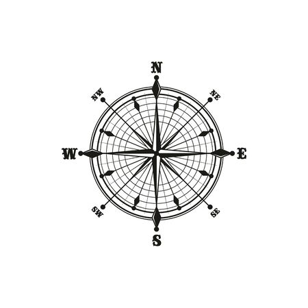 Marine navigation compass isolated icon. Vector monochrome rose of wind, dial showing longitude and latitude