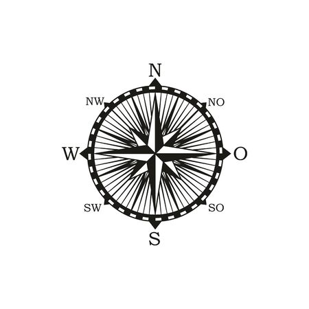 Compass navigation and orientation instrument, shows direction of geographic cardinal directions isolated vector icon