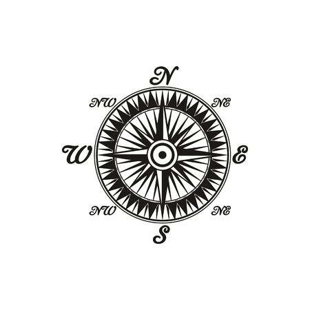 Compass rose showing directions north, south, east, and west vector isolated icon. Navigation instrument pointing direction