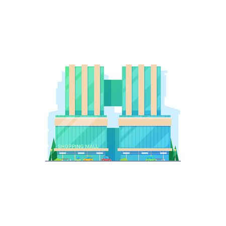 Shopping mall building icon isolated. Vector exterior retail supermarket, modern architecture, cars and trees