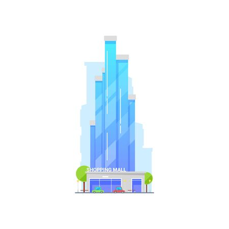 Multi storey shopping mall, glass exterior retail building vector. Isolated icon of trade center facade