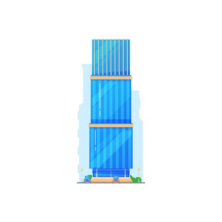 Hotel residential building vector modern architecture design. Isolated residential construction with glass exterior