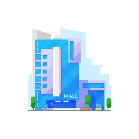 Mall real estate building isolated. Vector modern architecture multi storey construction with glass facade Ilustrace