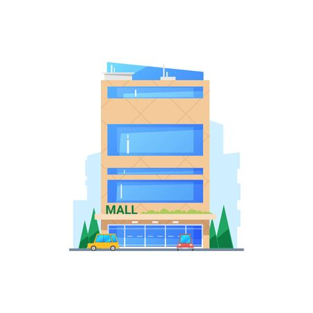 Mall building, modern construction with glass facade isolated. Vector business center, car parking and trees