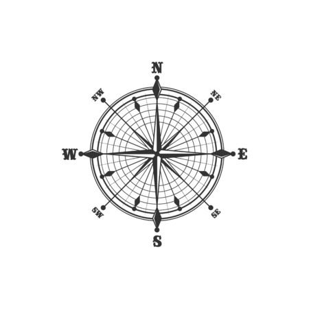 Compass symbol and sign, isolated vector marine navigation element. Rose of wind heraldic monochrome signs with world sides, north and south, west and east. Geography and cartography, map