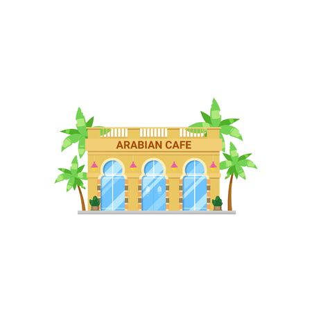 Arabian cafe isolated restaurant exterior design. Vector UAE or Egypt cuisine, bar facade Ilustração