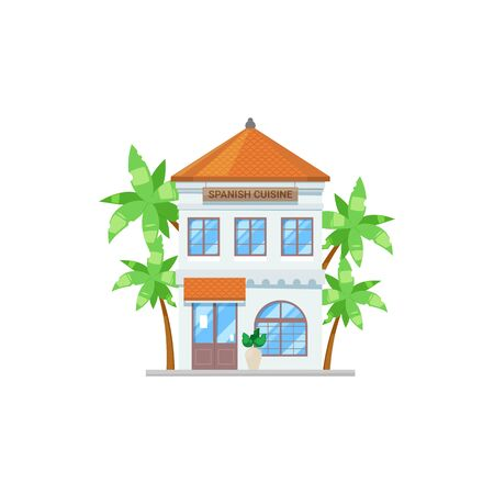 Spanish cuisine restaurant isolated building and palm trees. Vector bistro cafe facade exterior
