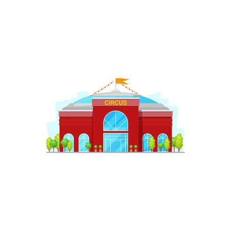 Big top circus building isolated facade with trees. Vector modern architecture construction, entertainment house