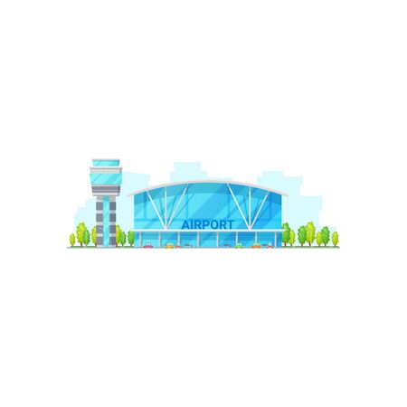 International airport terminal isolated glass construction facade. Vector control tower and building with facilities, parking and trees