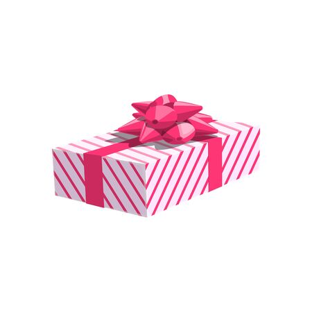 Packed gift box, decorated by pink bow, rectangular wrapped package, vector icon isolated  イラスト・ベクター素材