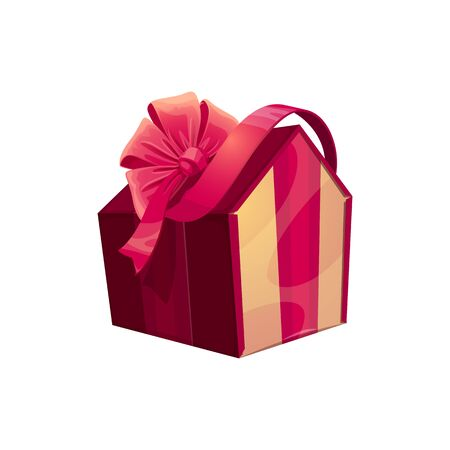 Present in shape of house, holiday surprise icon. Gift box with satin bow vector isolated Standard-Bild - 136686202