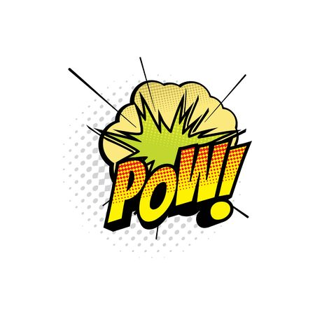 Comic book sound blast, Wow bubble cartoon halftone icon. Vector Wow sound blast explosion, pop art burst bang cloud puff