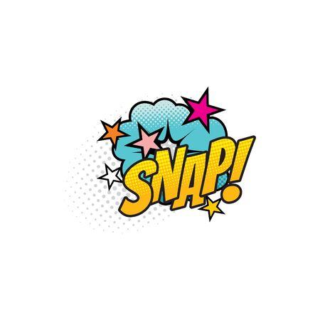 Comic sound blast, Snap bubble cloud cartoon icon. Vector Snap sound blast, explosion boom cloud with stars, superhero comic book pop art