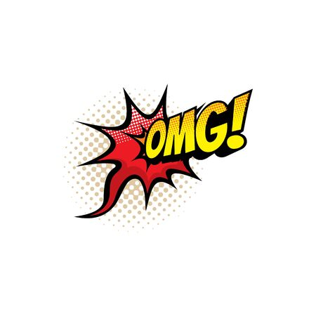 Omg sound blast, comic book cartoon bubble chat icon. Vector Omg exclamation sound explosion, comic halftone pop art