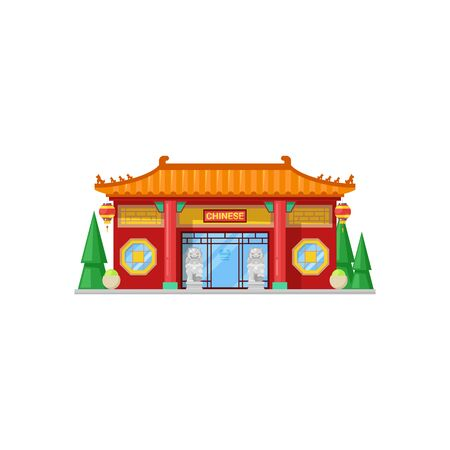 Chinese restaurant isolated exterior design. Vector cafe building, China cuisine bistro, ion statues Stock Illustratie
