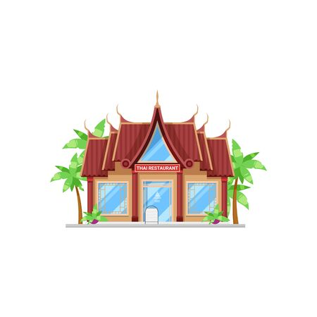 Thai cuisine restaurant isolated bar exterior with palm trees. Vector cafe in Thailand, facade design