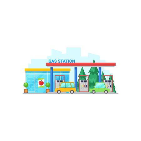 Gas station with petrolling cars isolated glass exterior building. Vector filling station with small shop