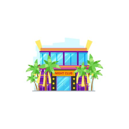 Night club on summer resort isolated building facade. Vector entertainment dancing center and palm trees