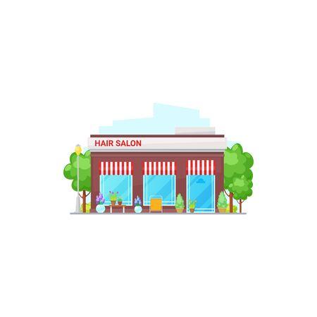 Isolated hair salon building, beauty house exterior