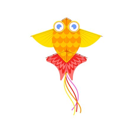 Kites in shape of bird, fish or insects, entertainment and active pastime. Vector toy of paper or fabric, butterfly and dragonfly, ladybug. Flying object, childish game, summer festival, isolated Illustration