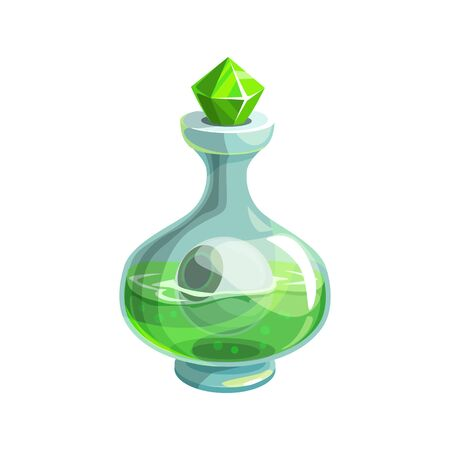 Vase with green poison and human isolated bottle. Vector magic elixir closed by diamond cork
