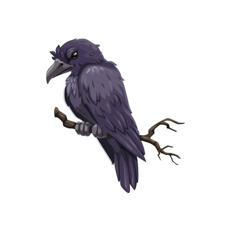 Crow on branch icon, evil feathered animal, isolated vector. Raven on tree, scary bird