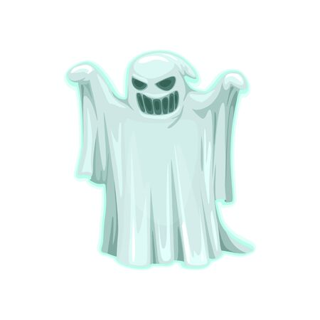 Ghost icon, evil spirit isolated vector. Halloween costume, trick or treat