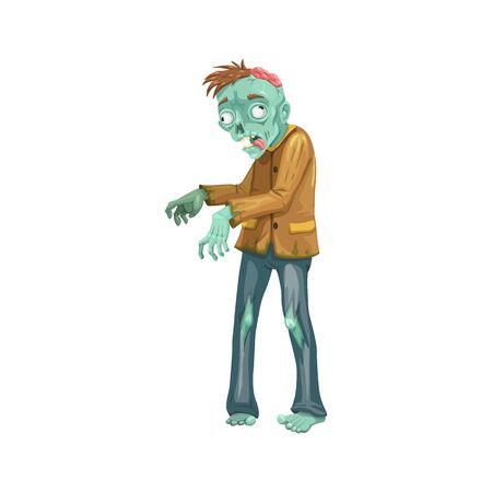 Zombie icon, Halloween character isolated vector. Walking dead, brain and torn clothes