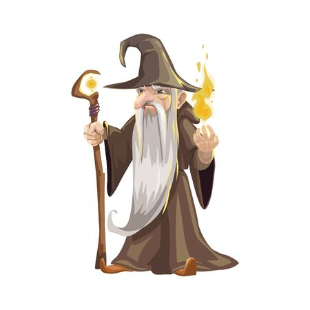 Wizard icon, Halloween character isolated vector. Elderly man with scepter and flame  イラスト・ベクター素材