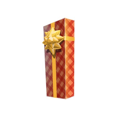 Gift box icon in checkered wrapping paper vector isolated. Surprise with golden bow
