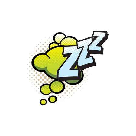 Comic book sound cloud, bubble chat cartoon icon. Vector Zzz sleeping snore sound blast cloud, comic book halftone art