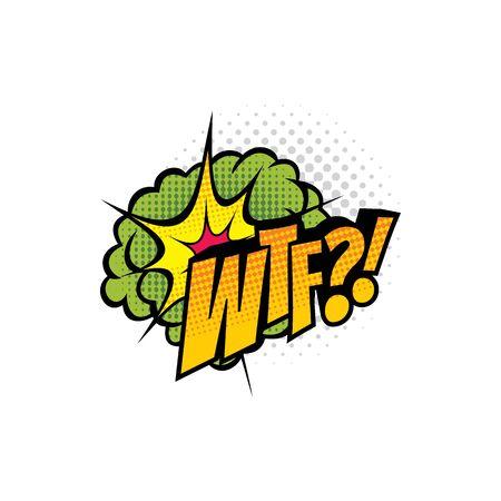 Sound blast, pop bubble comic book cartoon chat icon. Vector WTF sound cloud, explosion boom bang, superhero comic book art speech Illustration