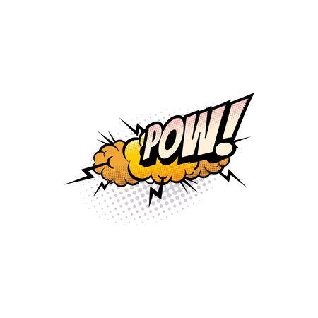 Sound blast, Pow bubble comic book cartoon icon. Vector Pow sound cloud, explosion boom bang, superhero comic book art speech