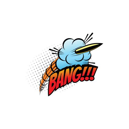 Comic sound blast, bubble chat cartoon comic book icon. Vector Bang sound blast of bullet shooting explosion, comic pop art bubble cloud  イラスト・ベクター素材