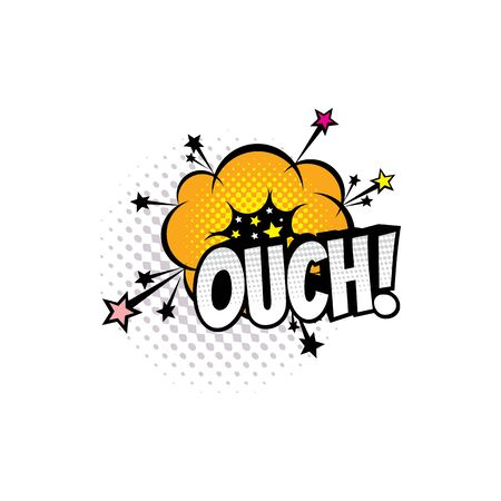 Comic sound blast, cartoon comic book bubble chat icon. Vector Ouch sound blast with stars explosion, comic pop art speech cloud