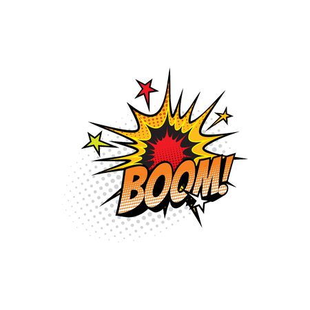 Boom sound blast, comic book cartoon bubble chat icon. Vector Boom sound cloud explosion with stars bang, superhero comic book art Çizim