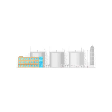 Industrial factory with tanks and building isolated. Vector fuel, silos storage container 向量圖像