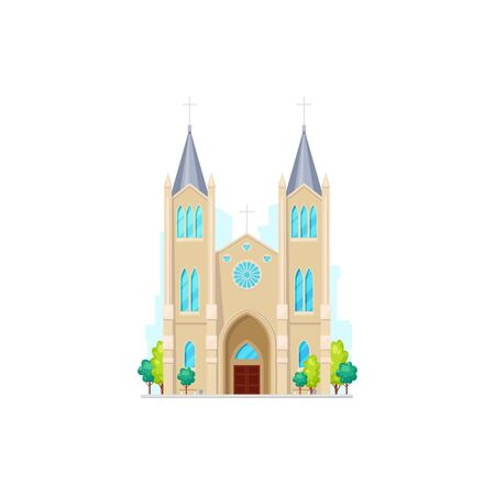 Gothic church with tower and windows isolated religion building. Vector retro cathedral facade