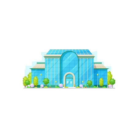 Modern building facade exterior isolated museum or hospital. Vector city institution, trees and entrance Foto de archivo - 136708109