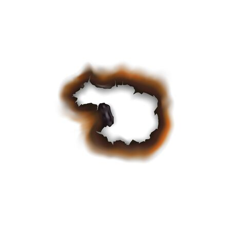 Paper sheet damaged by fire isolated burnt hole. Burnt hole in sheet of paper isolated damaged by fire surface. Vector torn page with brown ash Vectores