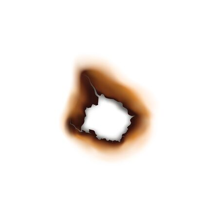 Paper sheet damaged by fire isolated burnt hole. Burnt hole in sheet of paper isolated damaged by fire surface. Vector torn page with brown ash  イラスト・ベクター素材