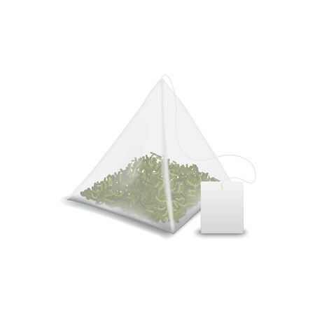 Triangular tea bag with green tea leaves isolated mockup. Vector packet of herbal drink