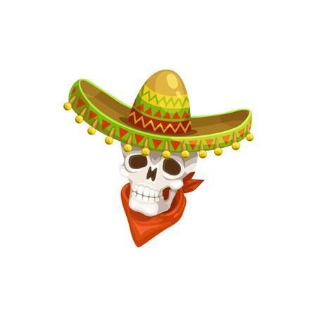 Mexican skull in sombrero hat and red neckerchief isolated. Vector Cinco de Mayo day of dead symbol