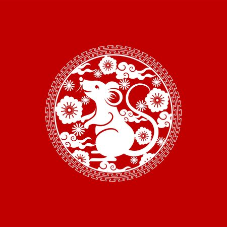 Chinese New Year of rat, ornament with pagoda and sakura flowers. Vector metal rat symbol, tori gate