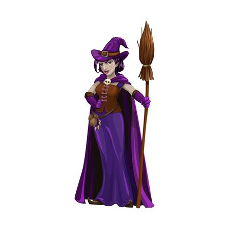 Witch with broom isolated Halloween character. Vector magic lady with broomstick, hat and purple gown Illustration